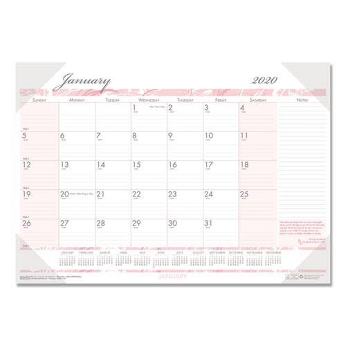 Recycled Breast Cancer Awareness Monthly Desk Pad Calendar, 18 1/2 x 13, 2020 | by Plexsupply