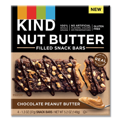 Nut Butter Filled Snack Bars, Chocolate Peanut Butter, 1.3 oz, 4/Pack