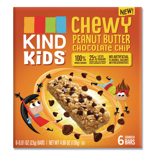 Kids Bars, Chewy Peanut Butter Chocolate Chip, 0.81 oz, 6/Pack