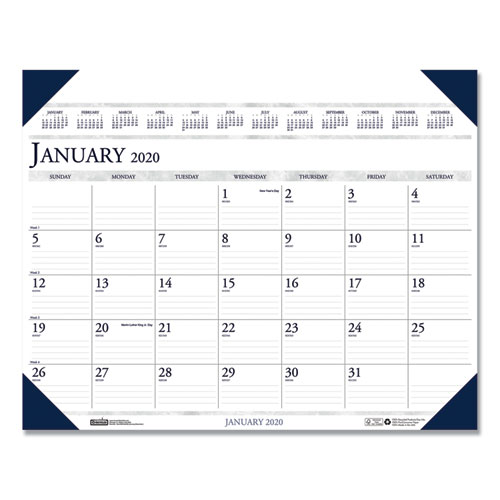 Executive Monthly Desk Pad Calendar, 24 x 19, 2020 | by Plexsupply