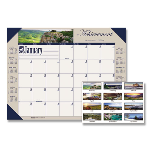 Recycled Motivational Photographic Monthly Desk Pad Calendar, 22 x 17, 2020 | by Plexsupply