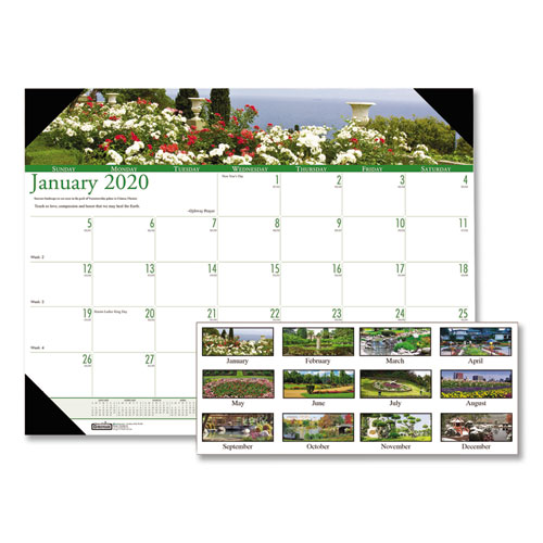 Recycled Gardens of the World Photo Monthly Desk Pad Calendar, 22 x 17, 2020 | by Plexsupply