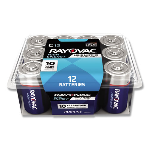 High Energy Premium Alkaline C Batteries, 12/Pack