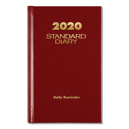 Standard Diary Recycled Daily Reminder, Red, 6 5/8 x 4 1/8, 2020 | by Plexsupply