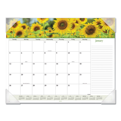 Floral Panoramic Desk Pad, 22 x 17, Floral, 2020 | by Plexsupply