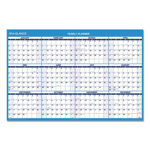 Horizontal Erasable Wall Planner, 48 x 32, Blue/White, 2020 | by Plexsupply