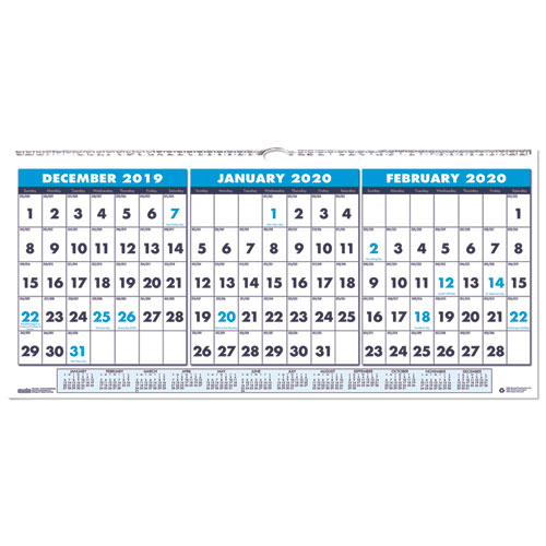 Recycled Three-Month Horizontal Wall Calendar, 23 1/2 x 12, 14-Month, 2019-2021   by Plexsupply