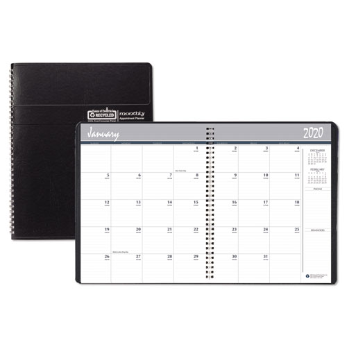 Recycled Ruled Monthly Planner, 14-Month Dec.-Jan., 11 x 8 1/2, Black, 2019-2021 | by Plexsupply