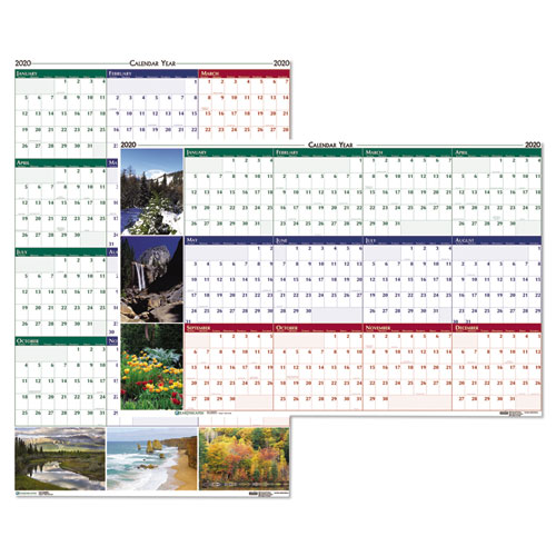 Recycled Earthscapes Nature Scene Reversible Yearly Wall Calendar, 24 x 37, 2020 | by Plexsupply
