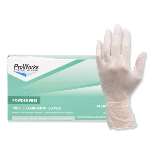 ProWorks Exam Grade Disposable Vinyl Gloves, Large, Clear, 1000/Carton