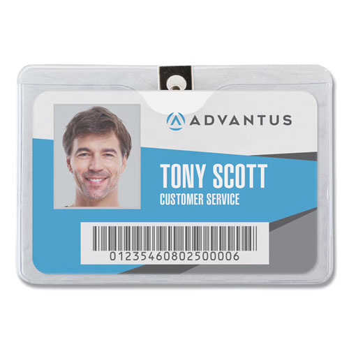 ID Badge Holder w/Clip, Horizontal, 4w x 3h, Clear, 50/Pack   by Plexsupply
