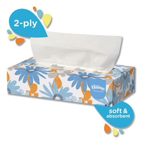 Kleenex® White Facial Tissue, 2-Ply, 125/Box, 12/Carton