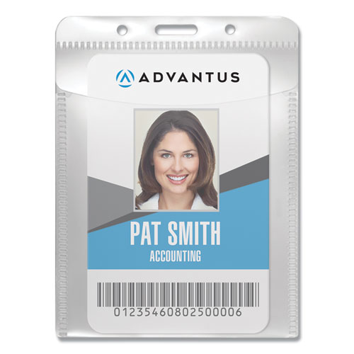 """PVC-Free Badge Holders, Vertical, 3"""" x 4"""", Clear, 50/Pack   by Plexsupply"""