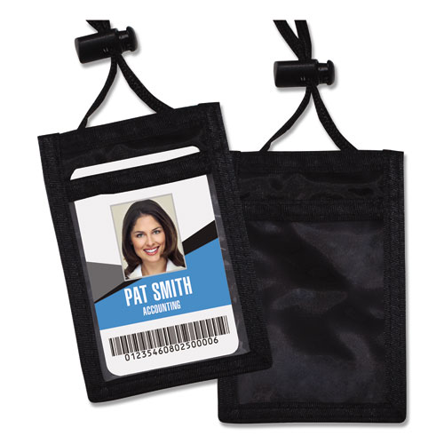 ID Badge Holder w/Convention Neck Pouch, Vertical, 2 3/4 x 3 1/2, Black, 12/Pack | by Plexsupply