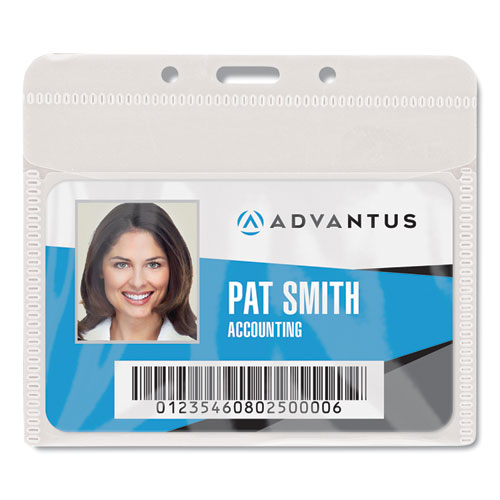 """PVC-Free Badge Holders, Horizontal, 4"""" x 3"""", Clear, 50/Pack   by Plexsupply"""