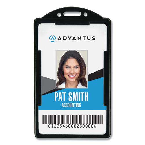 Vertical ID Card Holders, 2 1/8 x 3 3/8, Black, 25 per Pack | by Plexsupply