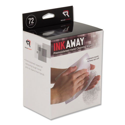 Read Right® Ink Away Hand Cleaning Pads, Cloth, White, 72/Pack