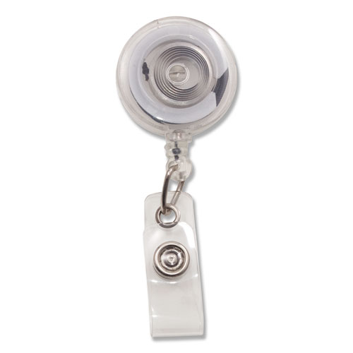 Translucent Retractable ID Card Reel, 34 Extension, Clear, 12/Pack