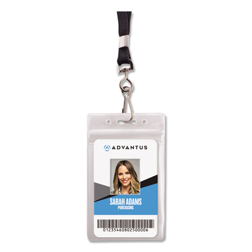 Resealable ID Badge Holder, Lanyard, Vertical, 2 5/8 x 3 3/4, Clear, 20/Pack | by Plexsupply