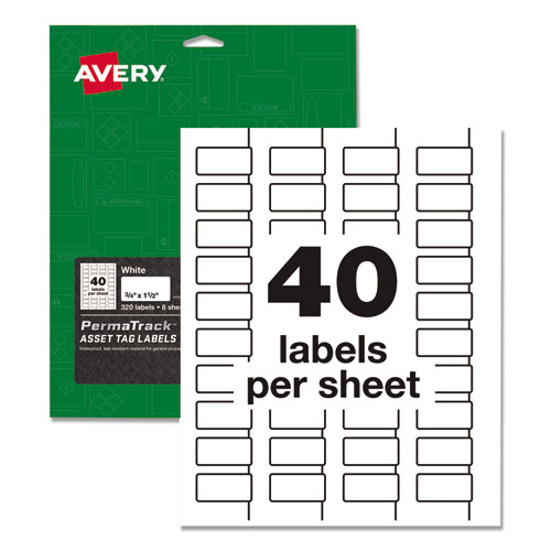 PermaTrack Durable White Asset Tag Labels, Laser Printers, 0.75 x 1.5, White, 40/Sheet, 8 Sheets/Pack