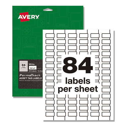 PermaTrack Durable White Asset Tag Labels, Laser Printers, 0.5 x 1, White, 84/Sheet, 8 Sheets/Pack