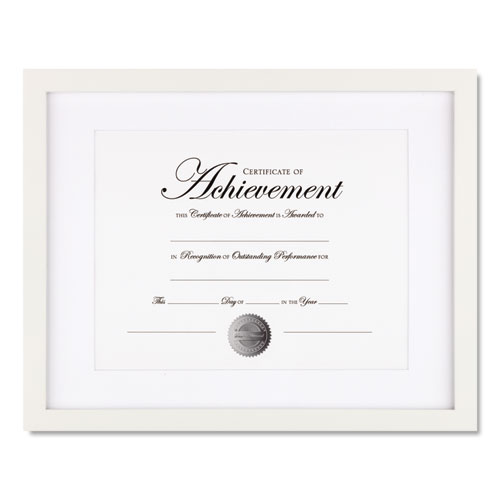Wood Gallery Frame with Beveled Mat, 11 x 14, White