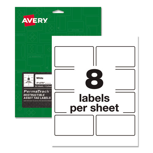 PermaTrack Destructible Asset Tag Labels, Laser Printers, 2 x 3.75, White, 8/Sheet, 8 Sheets/Pack