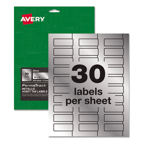 PermaTrack Metallic Asset Tag Labels, Laser Printers, 0.75 x 2, Metallic Silver, 30/Sheet, 8 Sheets/Pack