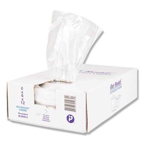 Ice Bucket Liner Bags, 3 qt, 0.5 mil, 6 x 12, Clear, 1,000/Carton