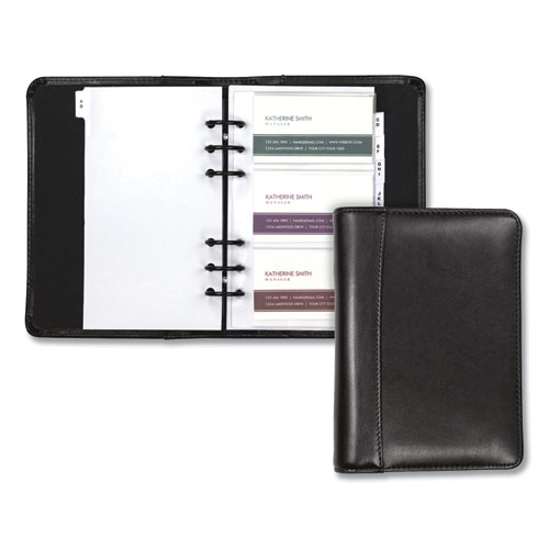 Regal Leather Business Card Binder, 120 Card Capacity, 2 x 3 1/2 Cards, Black | by Plexsupply