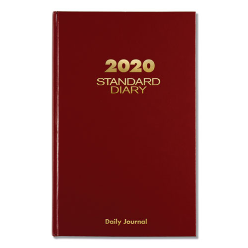 Standard Diary Recycled Daily Journal, Red, 12 1/8 x 7 11/16, 2020 | by Plexsupply