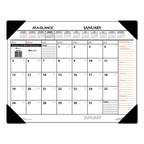 Two-Color Monthly Desk Pad Calendar, 22 x 17, 2020 | by Plexsupply