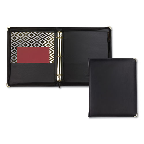 """Classic Collection Zipper Ring Binder, 3 Rings, 1.5"""" Capacity, 11 x 8.5, Black 
