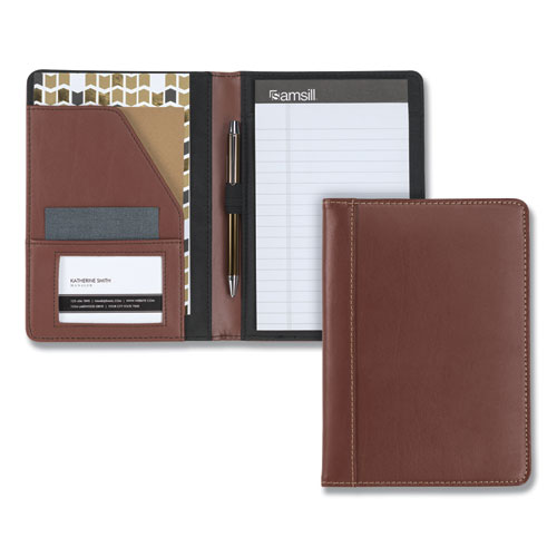 Contrast Stitch Leather Padfolio, 6 1/4w x 8 3/4h, Open Style, Brown