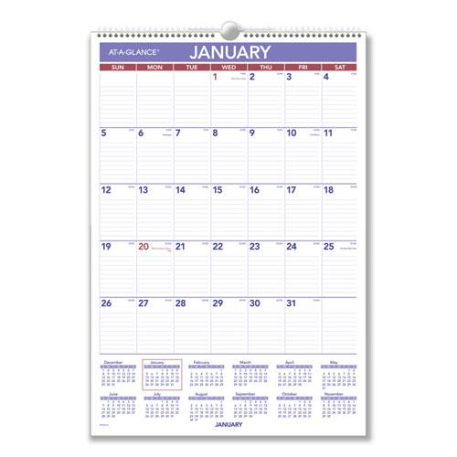 Erasable Wall Calendar, 15 1/2 x 22 3/4, White, 2021
