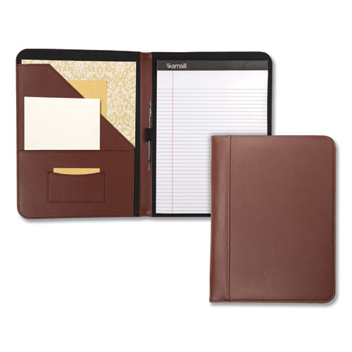 Contrast Stitch Leather Padfolio, 8 1/2 x 11, Leather, Tan | by Plexsupply