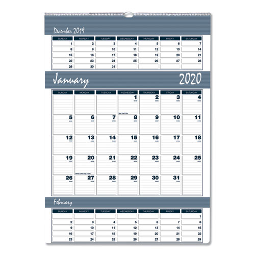 Recycled Bar Harbor Three-Months-per-Page Wall Calendar, 15 1/2 x 22, 2019-2021   by Plexsupply
