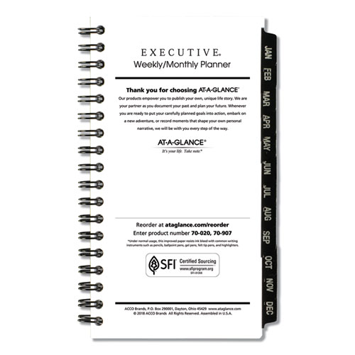 Executive Pocket Size Weekly/Monthly Planner Refill, 6 1/4 x 3 1/4, White, 2020 | by Plexsupply