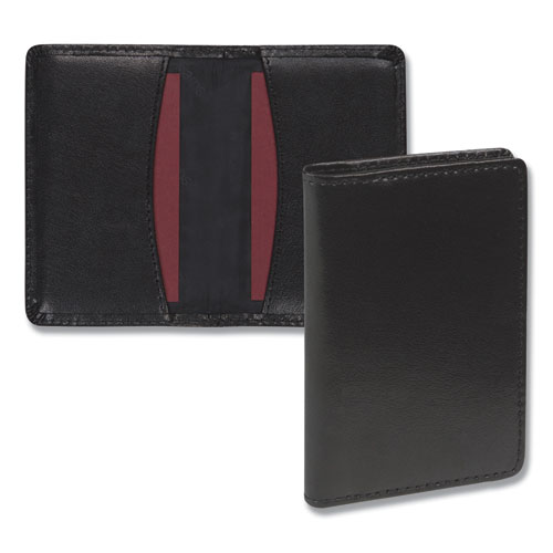 Regal Leather Business Card Wallet, 25 Card Capacity, 2 x 3 1/2 Cards, Black | by Plexsupply
