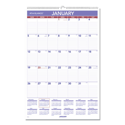 Monthly Wall Calendar with Ruled Daily Blocks, 20 x 30, White, 2020 | by Plexsupply