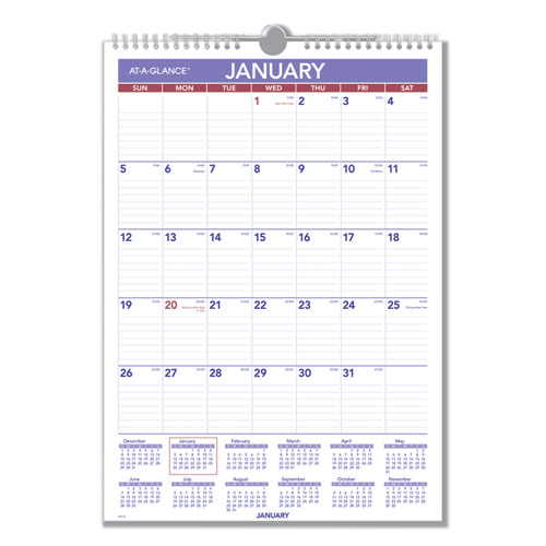 Monthly Wall Calendar with Ruled Daily Blocks, 12 x 17, White, 2020 | by Plexsupply