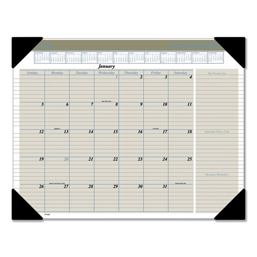 Executive Monthly Desk Pad Calendar, 22 x 17, Buff, 2020 | by Plexsupply