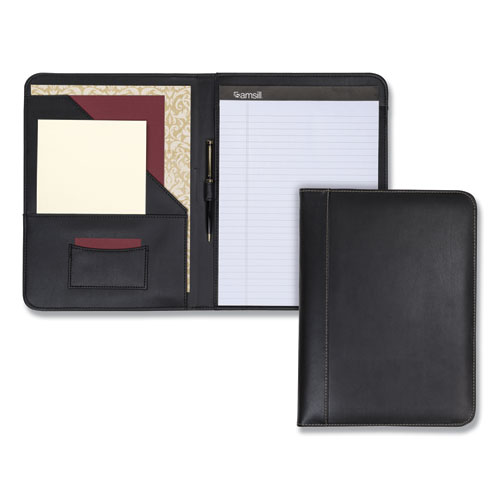 Contrast Stitch Leather Padfolio, 8 1/2 x 11, Leather, Black | by Plexsupply