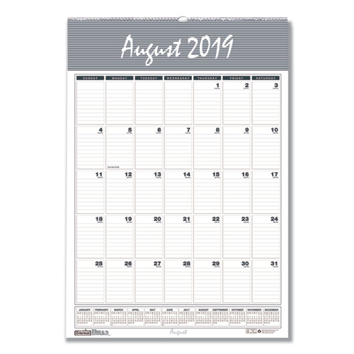 Recycled Bar Harbor Wirebound Academic Monthly Wall Calendar, 15.5x22, 2019-2020   by Plexsupply