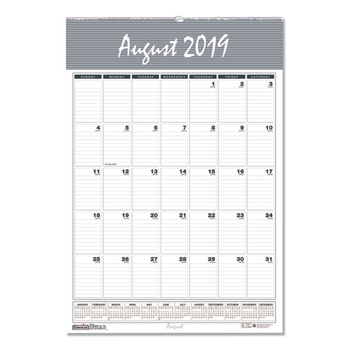 Recycled Bar Harbor Wirebound Academic Monthly Wall Calendar, 12 x 17, 2019-2020   by Plexsupply