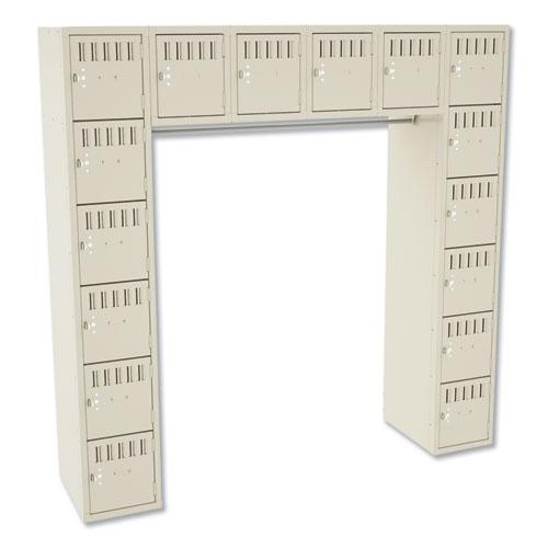 Sixteen Box Compartments & Coat Bar, 72w x 18d x 72h, Sand | by Plexsupply