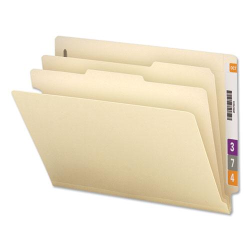 Six-Section Manila End Tab Classification Folders, 2 Dividers, Letter Size, Manila, 10/Box