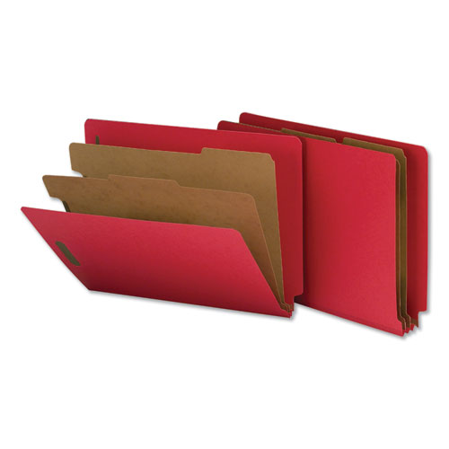Deluxe Six-Section Colored Pressboard End Tab Classification Folders, 2 Dividers, Letter Size, Bright Red, 10/Box