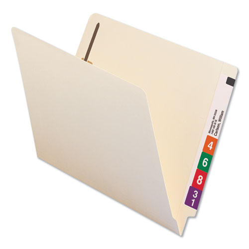 Reinforced End Tab File Folders with Two Fasteners, Straight Tab, Letter Size, Manila, 50/Box