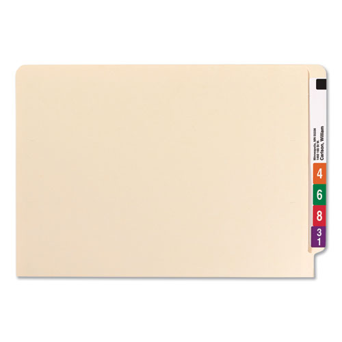 Reinforced End Tab File Folders with Two Fasteners, Straight Tab, Legal Size, Manila, 50/Box